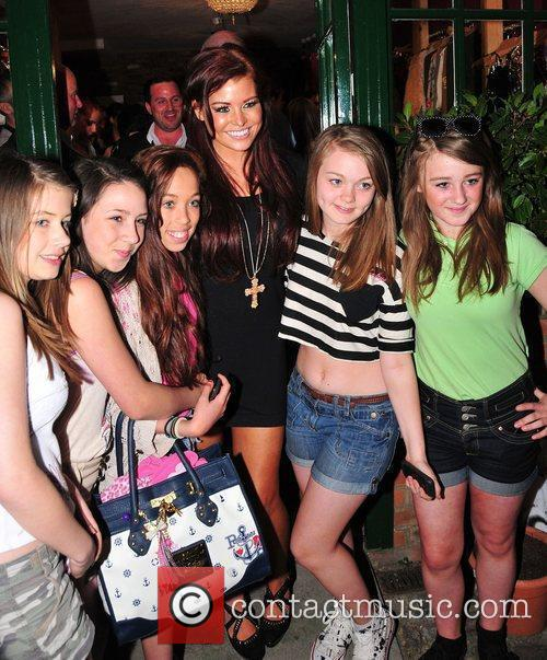 Jessica Wright and fans,  at Minnies Boutique...
