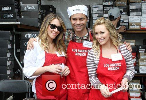 Haylie Duff (L) Pierre Senizergues, and Hilary Duff...