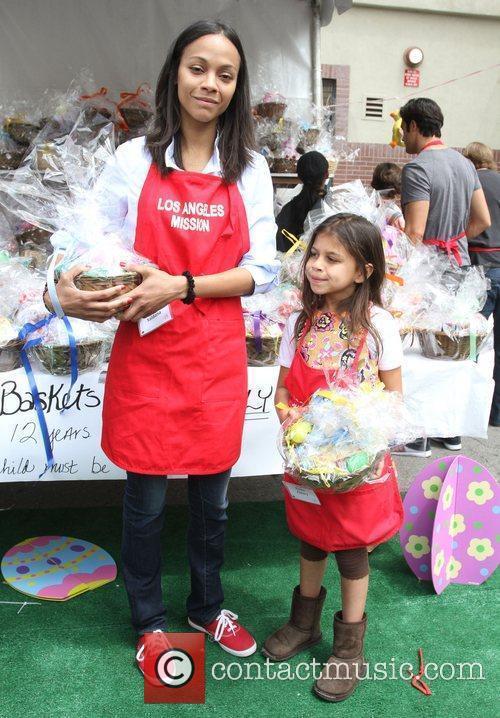Zoe Saldana with her Niece Kayla Los Angeles...