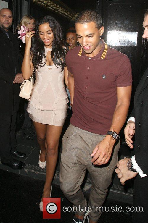 Rochelle Wiseman and Marvin Humes leaving Movida nightclub...