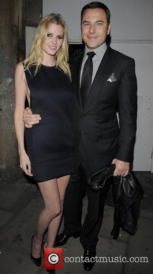 David Walliams and wife Lara Stone leaving the...