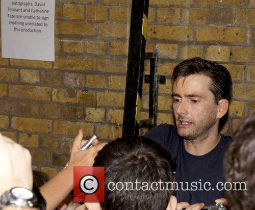 Meets with fans outside the Wyndhams Theatre after...