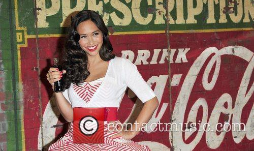 Myleene Klass at a photocall for Coca Cola...