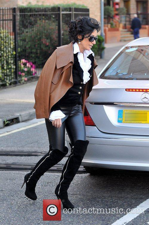 Nancy Dell'Olio leaving home in London London, England