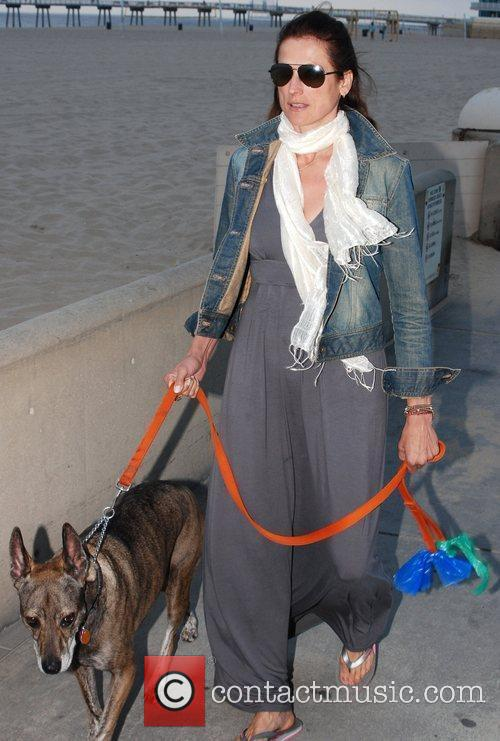 Walking her dog on The Strand on Hermosa...
