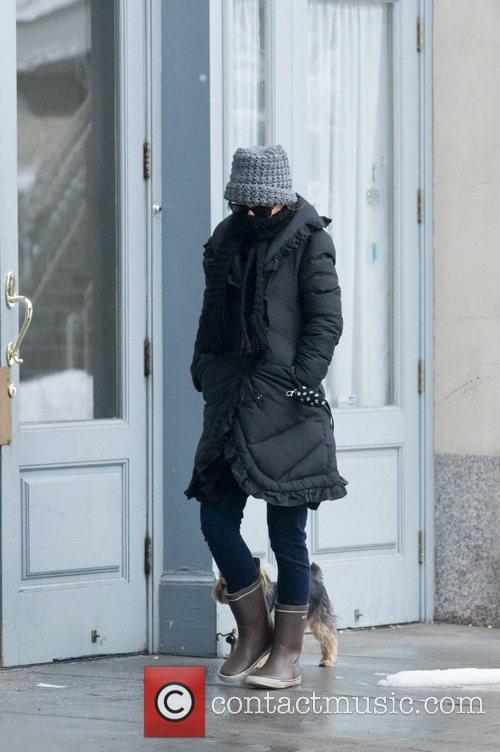 Natalie Portman out walking her dog in Manhattan....