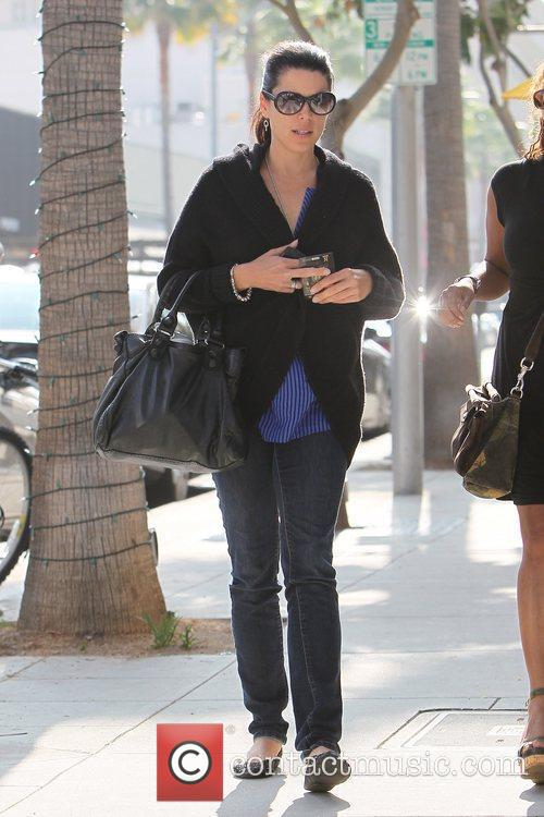 Neve Campbell and Rachel True leaving M Cafe...