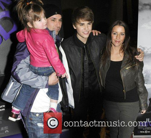 Justin Bieber with his father Jeremy Bieber, mother...