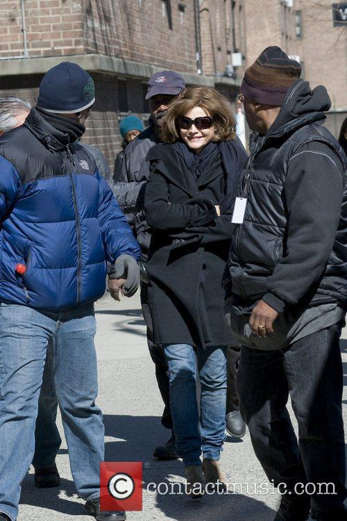 Michelle Pfeiffer on the set of 'New Year's...