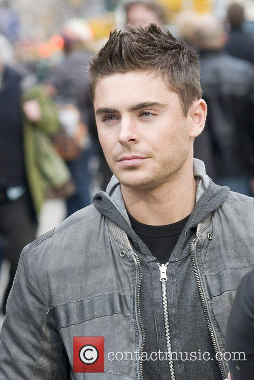 Zac Efron on the set of 'New Year's...