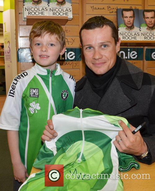 Nicolas Roche and fan Aidan Moon Professional cycilist...