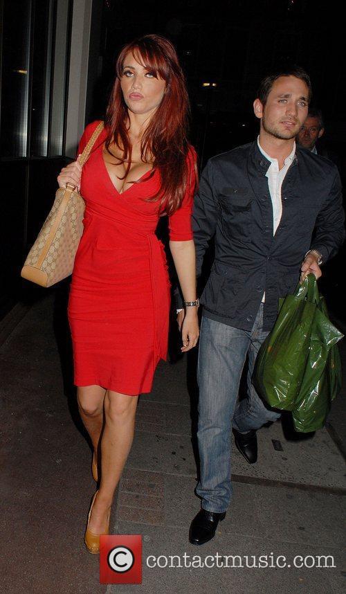 Amy Childs leaving Nobu Berkeley restaurant with boyfriend...