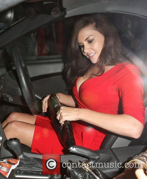 Imogen Thomas in a revealing red clingy dress...