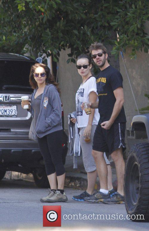 Olivia Wilde and friends leaving Little Dom's Deli...