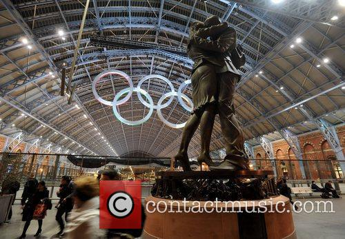 Olympic Rings - unveiling at St Pancras Station.
