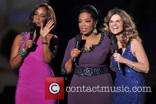 Gayle King, Oprah Winfrey, and Maria Shriver during...