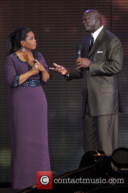 Oprah Winfrey and Michael Jordan  during Surprise...
