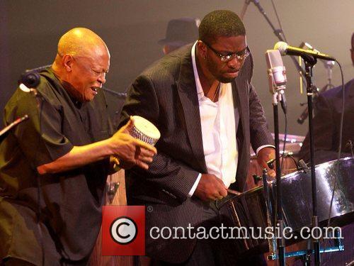 Hugh Masekela, Leon Foster Thomas,  performing at...
