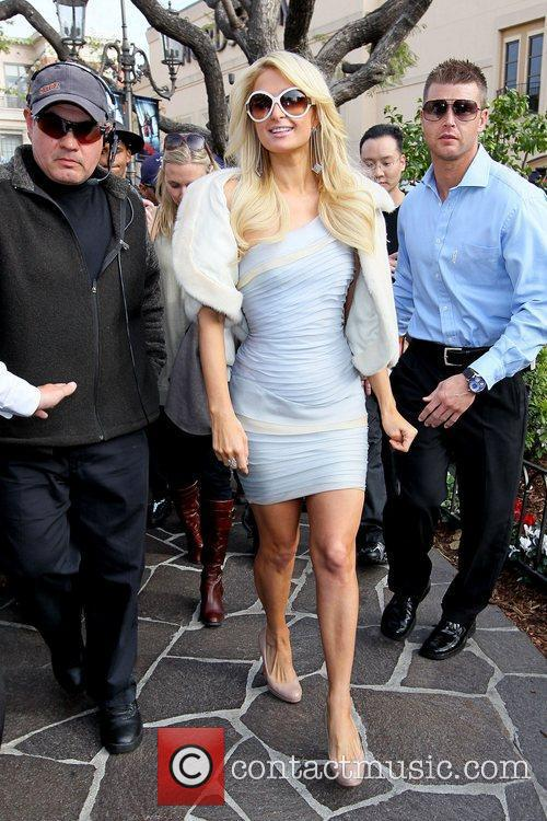 Paris Hilton arriving at The Grove in Hollywood...