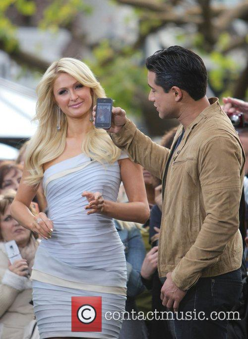 Paris Hilton with Mario Lopez during an interview...