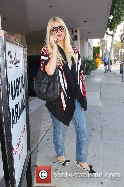 Paris Hilton arriving at Portofino in Beverly Hills...
