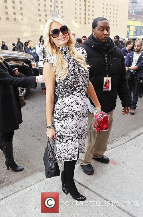Paris Hilton arriving at a television studio in...