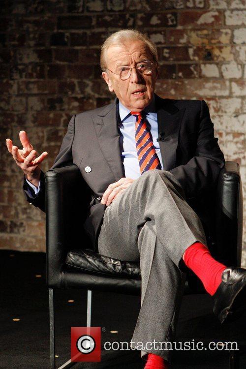 Sir David Frost at a media conference at...