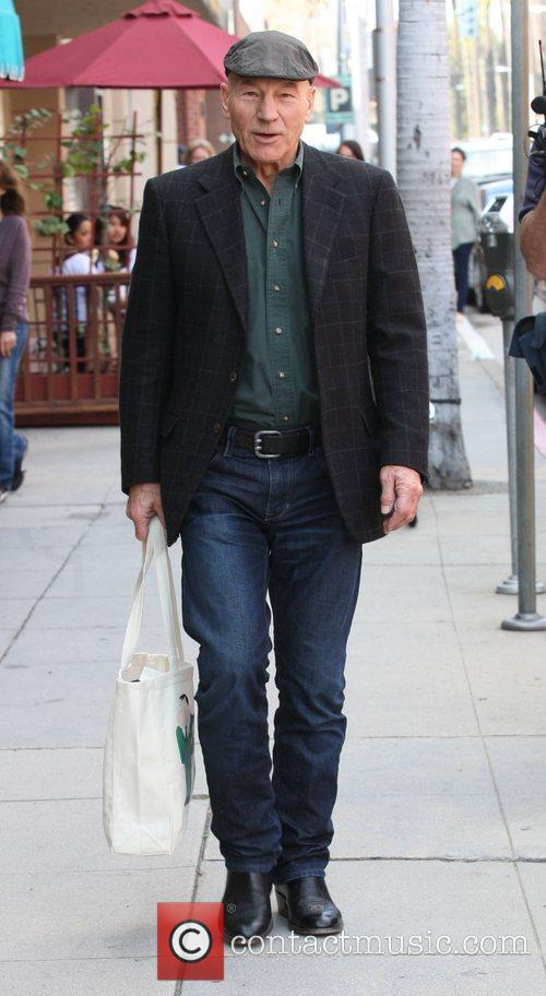 Patrick Stewart leaving Judi's Deli after having lunch...