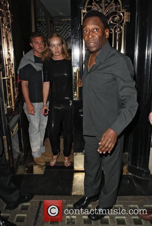 Former Brazilian football player, Pele, leaving Scotts restaurant...