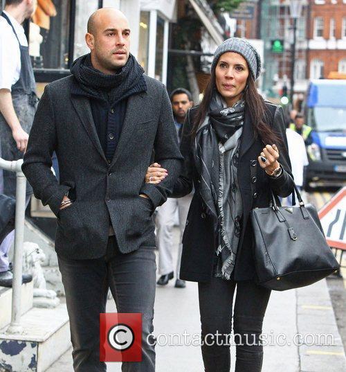 Pepe Reina and his wife Yolanda Ruiz walking...