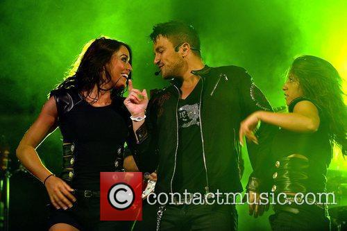Peter Andre performing at Kempton Park Racecourse as...