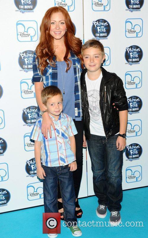 Natasha Hamilton and her sons The UK premiere...