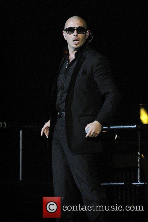 Pitbull aka Armando Christian Perez performs on stage...