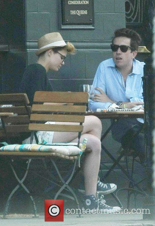 Nick Grimshaw and a friend outside The Queens...