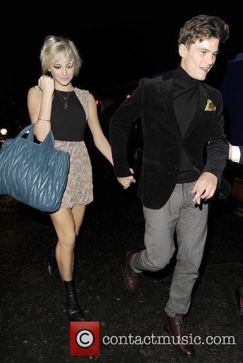 Pixie Lott and her boyfriend Oliver Cheshire arriving...