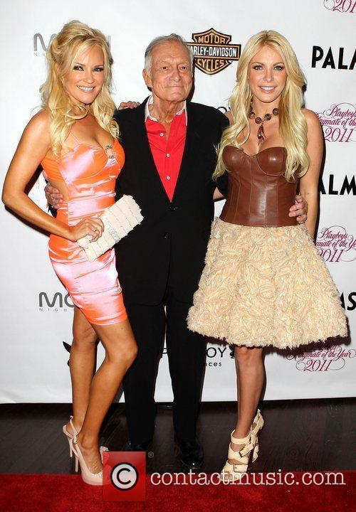 Bridget Marquardt, Crystal Harris and Hugh Hefner 1
