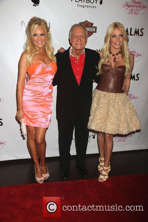 Bridget Marquardt, Crystal Harris and Hugh Hefner 2