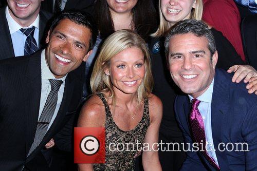 Mark Consuelos, Kelly Ripa and Andy Cohen The...