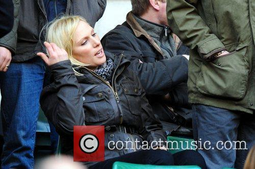 Zara Phillips watching the England v France RBS...
