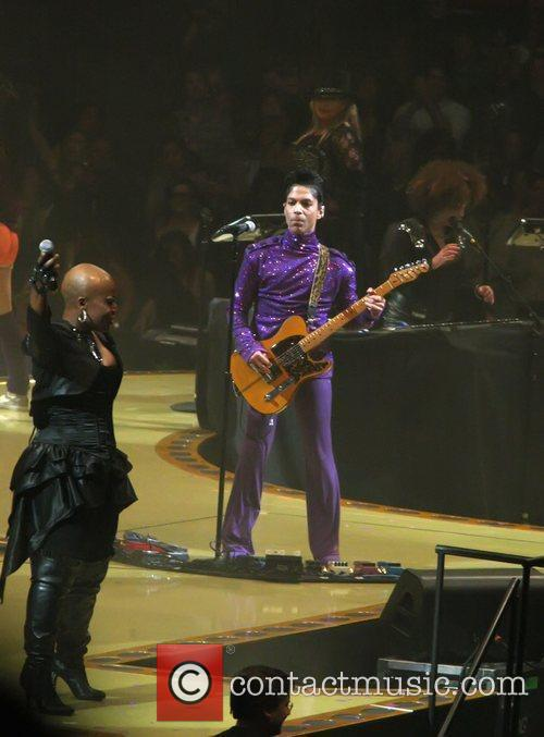 Musician Prince performing live at Madison Square Gardens...