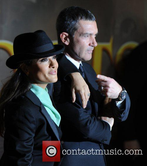 Antonio Banderas and Salma Hayek at the premiere...
