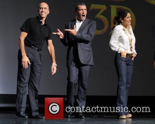 Jeffrey Katzenberg, Antonio Banderas and Salma Hayek 2