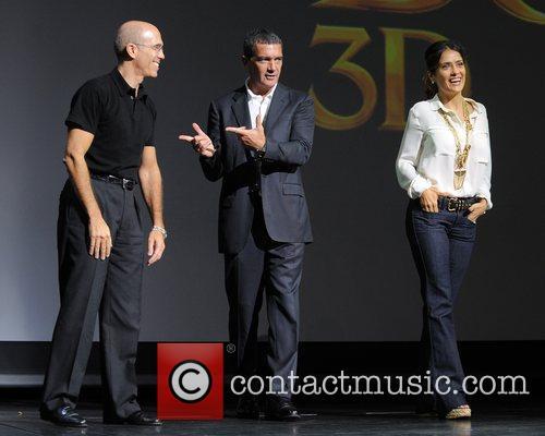Jeffrey Katzenberg, Antonio Banderas and Salma Hayek 3