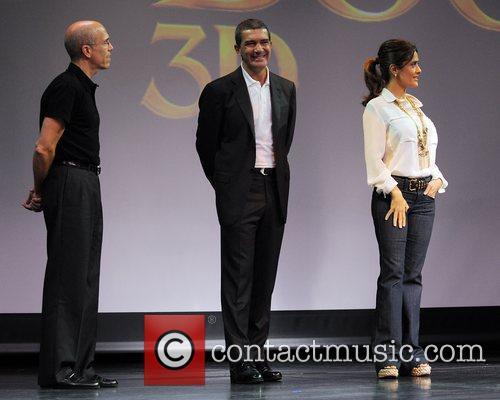 Jeffrey Katzenberg, Antonio Banderas and Salma Hayek 6