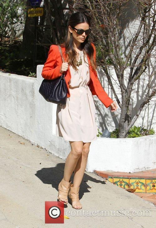 Rachel Bilson leaves her house in open toed...