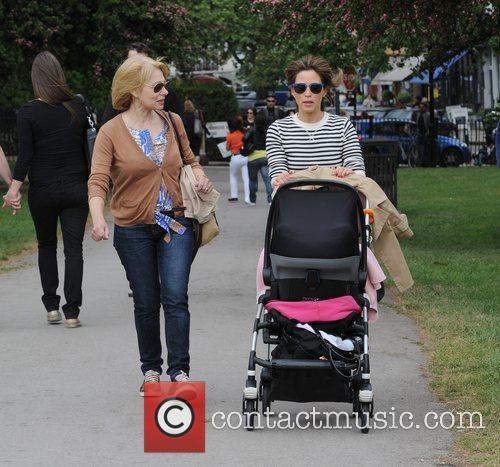 Rachel Stevens takes her baby for a walk...