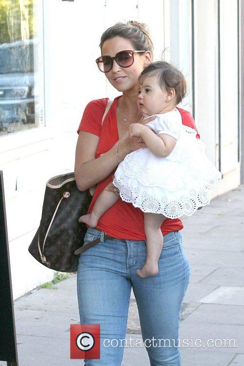 Rachel Stevens in Primrose Hill with baby Amelie