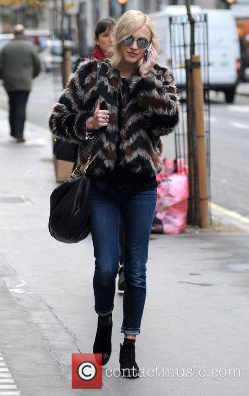 Fearne Cotton talks on her mobile phone as...