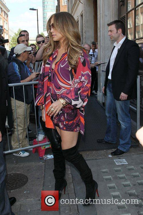 Jennifer Lopez arriving at the BBC Radio 1...