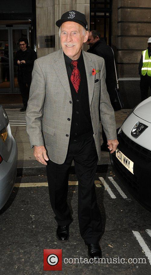 Bruce Forsyth leaves the BBC Radio 2 studios...